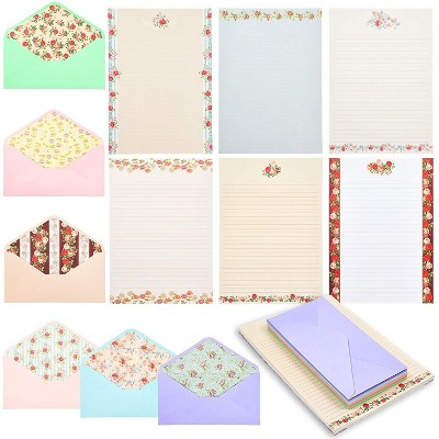 Paper Junkie 60 Sheets Vintage Floral Lined Stationery Paper with Envelopes 10.2 x 7.25 in, 6 Designs