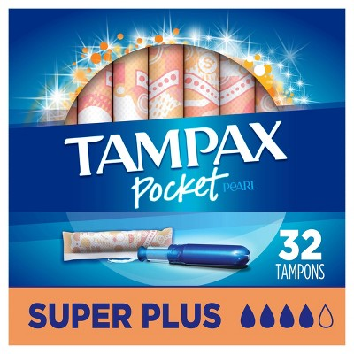 Tampax Pocket Pearl Super Plus Absorbency With LeakGuard Braid & Unscented Plastic Tampons - 32ct : Target