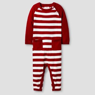 Baby Boys' Long Sleeve Stripe Raglan Sweater Coverall - Cat & Jack™ Red Newborn