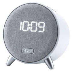 iHome Bluetooth Alarm Clock with Dual USB Charging and Nightlight - White/White