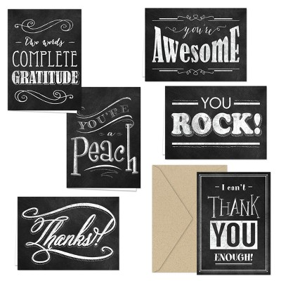36ct Typography Black Chalkboard Thank you Card