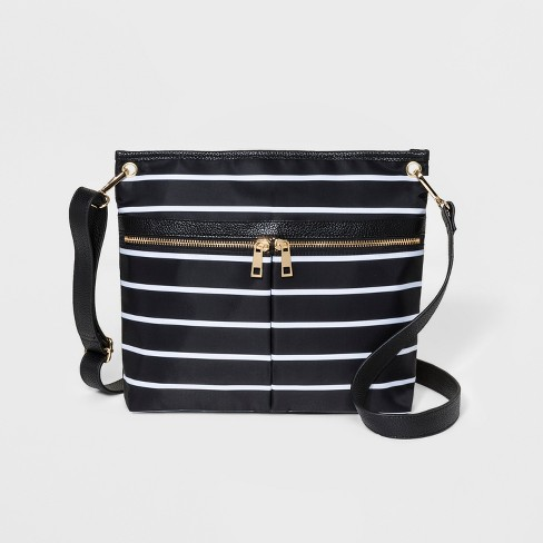 Striped Messenger Bag - A New Day™ Black - image 1 of 3