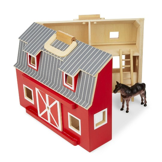 Melissa & Doug Fold and Go Wooden Barn Play Set - 10pc image number null