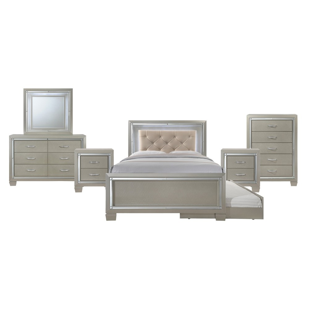 6pc Glamour Youth Full Platform with Trundle Bedroom Set Champagne - Picket House Furnishings, Beige