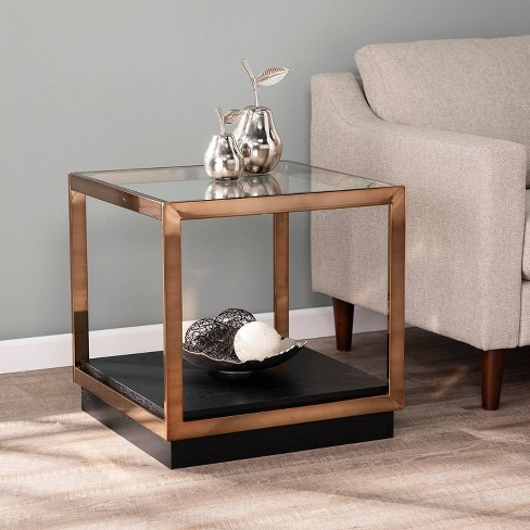 Lexing Glass Top End Table Champagne, Wood End Tables With Glass Top