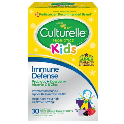 Culturelle Kids Immune Defense Probiotic + Elderberry,Vitamin C and Zinc Chewables - 30ct - image 1 of 4