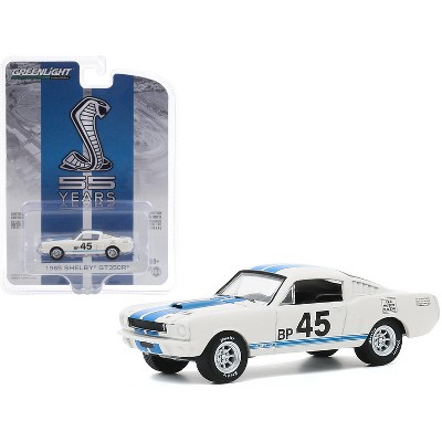 "1965 Ford Mustang Shelby GT350R #45 White with Blue Stripes ""Mustang GT350 55th Anniversary"" 1/64 Diecast Model Car by Greenlight"