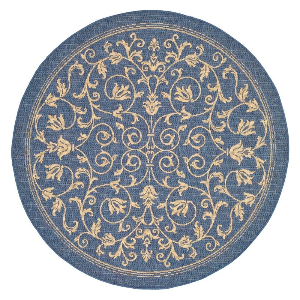 Vaucluse Round 6'7 Outdoor Rug - Blue / Natural - Safavieh, Blue/Natural