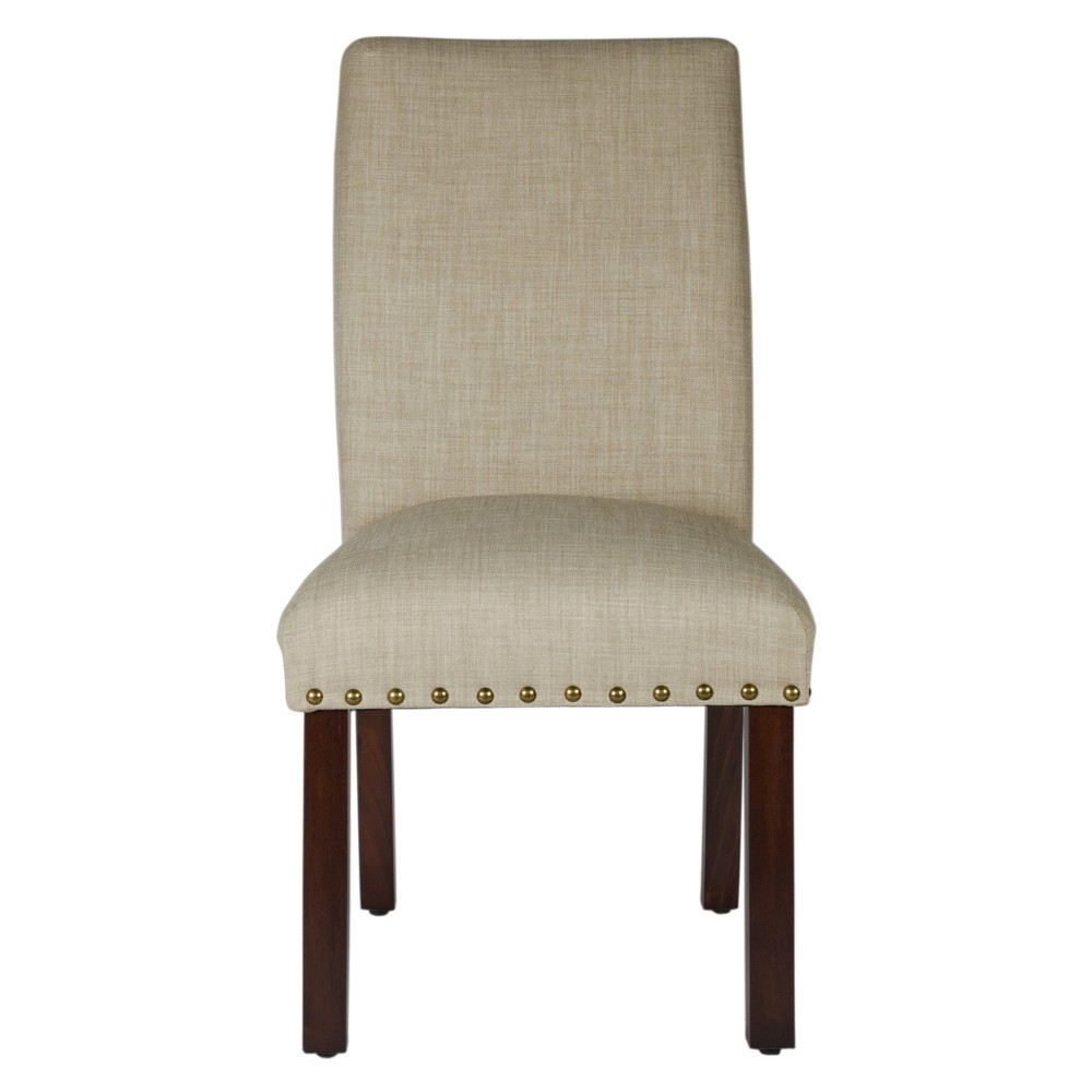Set of 2 Michele Dining Chair with Nailhead Trim Linen - HomePop was $219.99 now $164.99 (25.0% off)