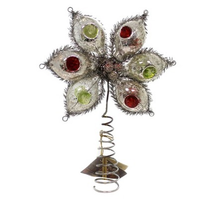 """Christmas 10.0"""" Glass Indent Onion Tree Topper Old World Retro  -  Tree Toppers"""
