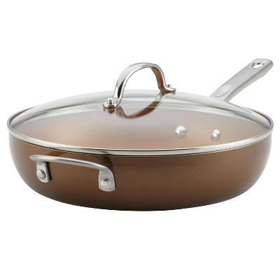 Ayesha Curry 12  Covered Deep Skillet with Helper Handles Brown
