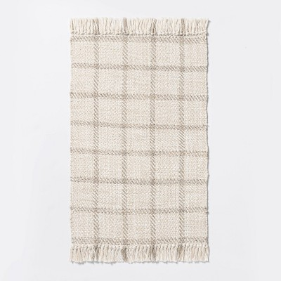 """2'1""""x3'2"""" Woven Indoor/Outdoor Rug with Fringe Linen - Threshold™ designed with Studio McGee"""