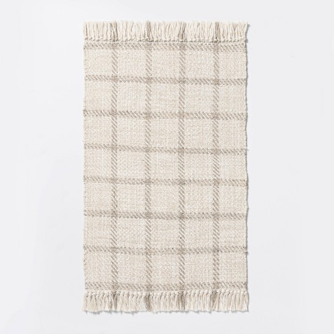 """2'1""""x3'2"""" Woven Indoor/Outdoor Rug with Fringe Linen - Threshold™ designed with Studio McGee - image 1 of 4"""