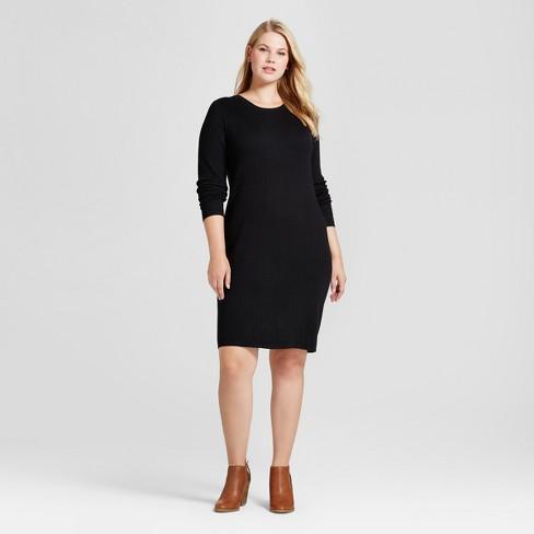 43cb72d4cfdc Women's Plus Size Ribbed Sweater Dress - Ava & Viv™ Black 2X : Target