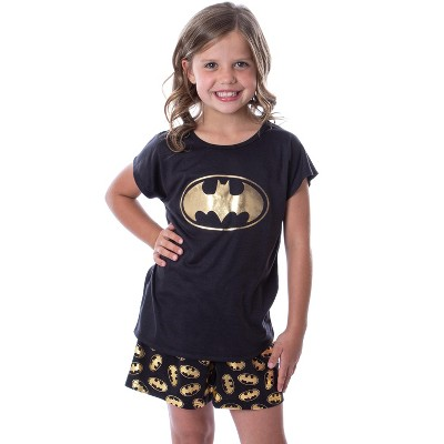 DC Comics Batgirl Superhero Gold Foil Logo Girls Short Sleeve Pajama Set