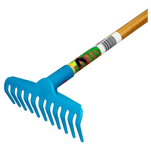 Children's Garden Rake with Plastic Head / Hardwood Handle - Blue - Little Diggers - image 1 of 1