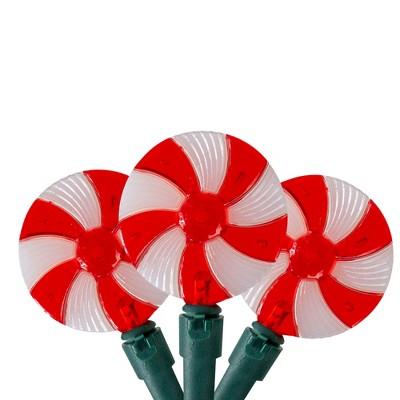 Kurt S. Adler Set of 20 Peppermint Candy Patio Christmas Lights- 9.5 ft Green Wire