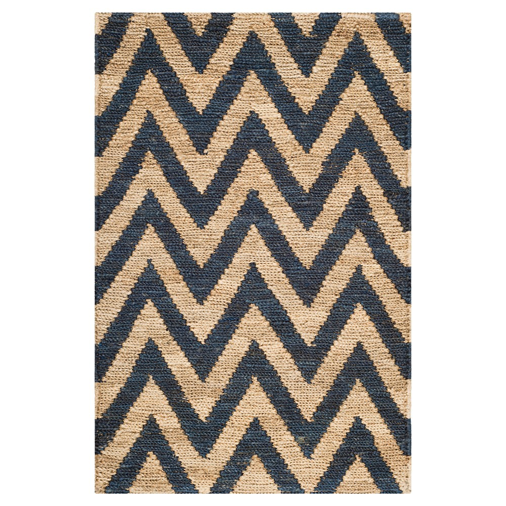 Blue/Natural Abstract Knotted Accent Rug - (3'x5') - Safavieh