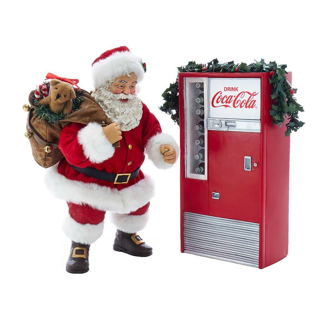 Image of 2pc Kurt Adler Santa with Coca-Cola Machine Decorative Sculpture Set