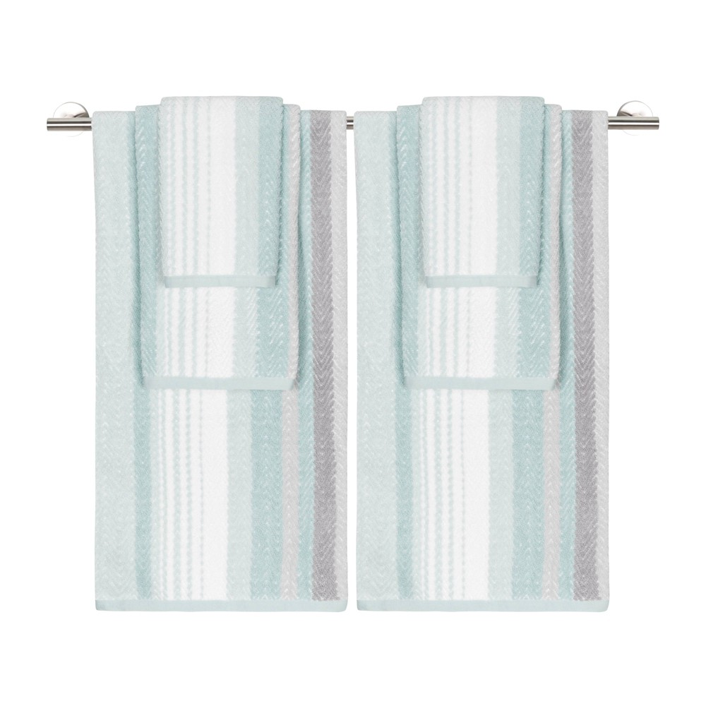 Image of 6pc Addison Bath Towel Set Seaglass Gray/Blue - Caro Home