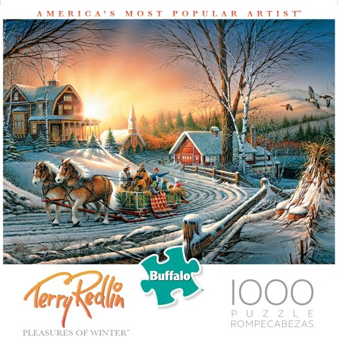 """Buffalo Games Terry Redlin 1000pc """"Pleasures of Winter"""" Puzzle - image 1 of 1"""