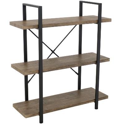 Sunnydaze 3 Shelf Industrial Style Freestanding Etagere Bookshelf with Wood Veneer Shelves - Smoky Gray Veneer