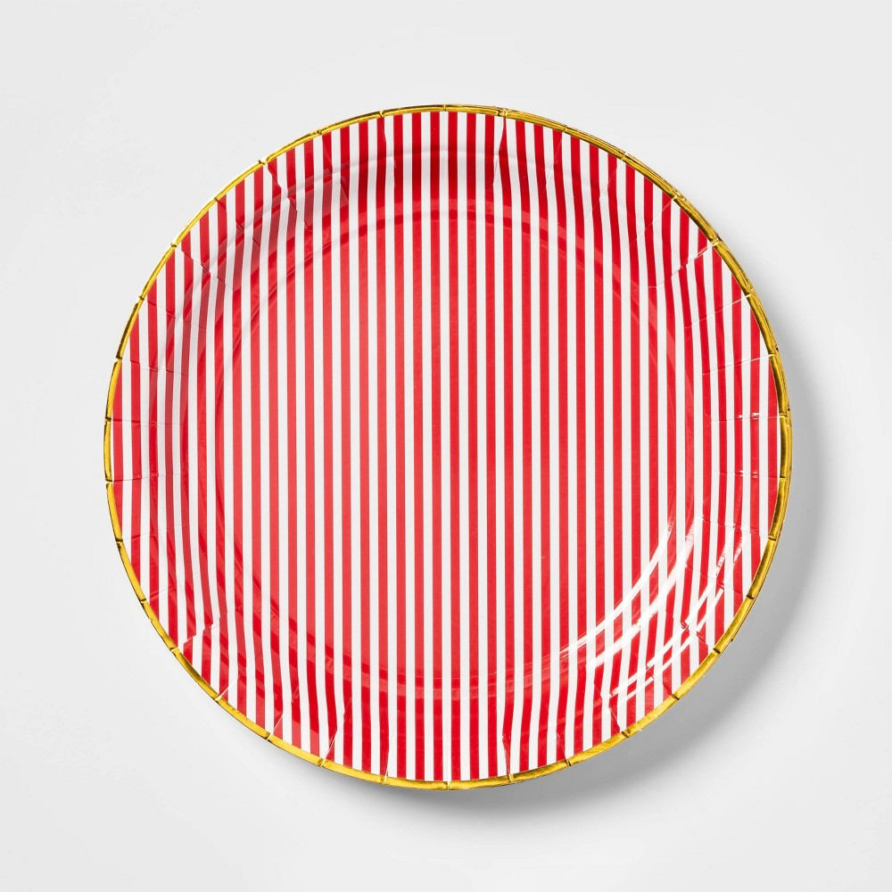 "Image of ""Red Striped Paper Plates 9"""" Set of 10 - sugar paper"""