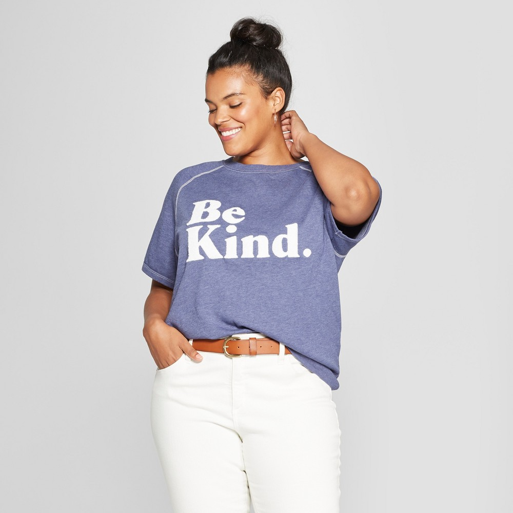 Women's Plus Size Short Sleeve Be Kind Chenille French Terry Graphic T-Shirt - Grayson Threads (Juniors') Navy 3X, Blue
