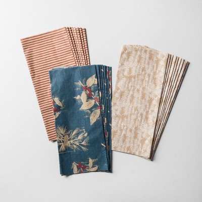 25ct Tissue Paper Brown/Blue Multi-Pattern - Hearth & Hand™ with Magnolia