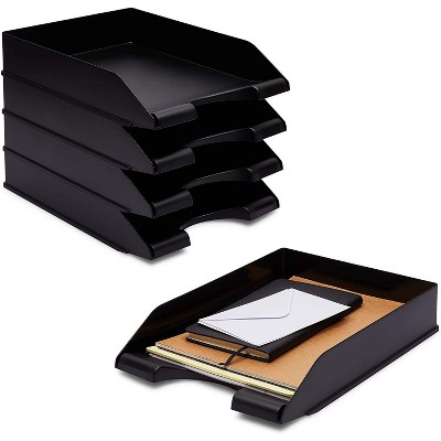 Stockroom Plus 4-Pack Black Stackable Documents Paper Trays, Office Desk Organizers (10 x 13.45 x 2.5 in)