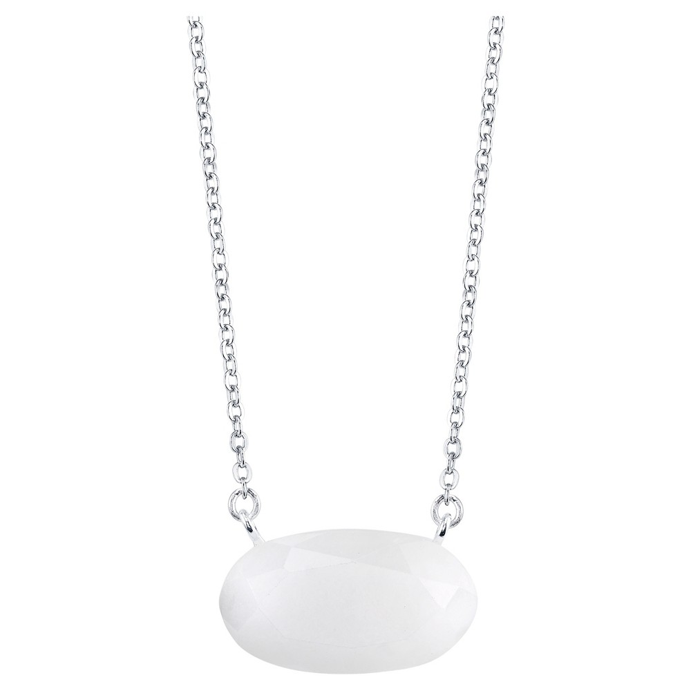 Plated White Quartz Genuine Stone Stationed Necklace - 18 - Silver, Girl's