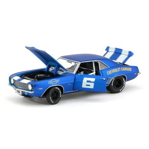 1969 Chevrolet Camaro Z/28 #6 Satin Royal Blue w/White Stripes Ltd Ed to  5,880 pcs 1/24 Diecast Model Car by M2 Machines