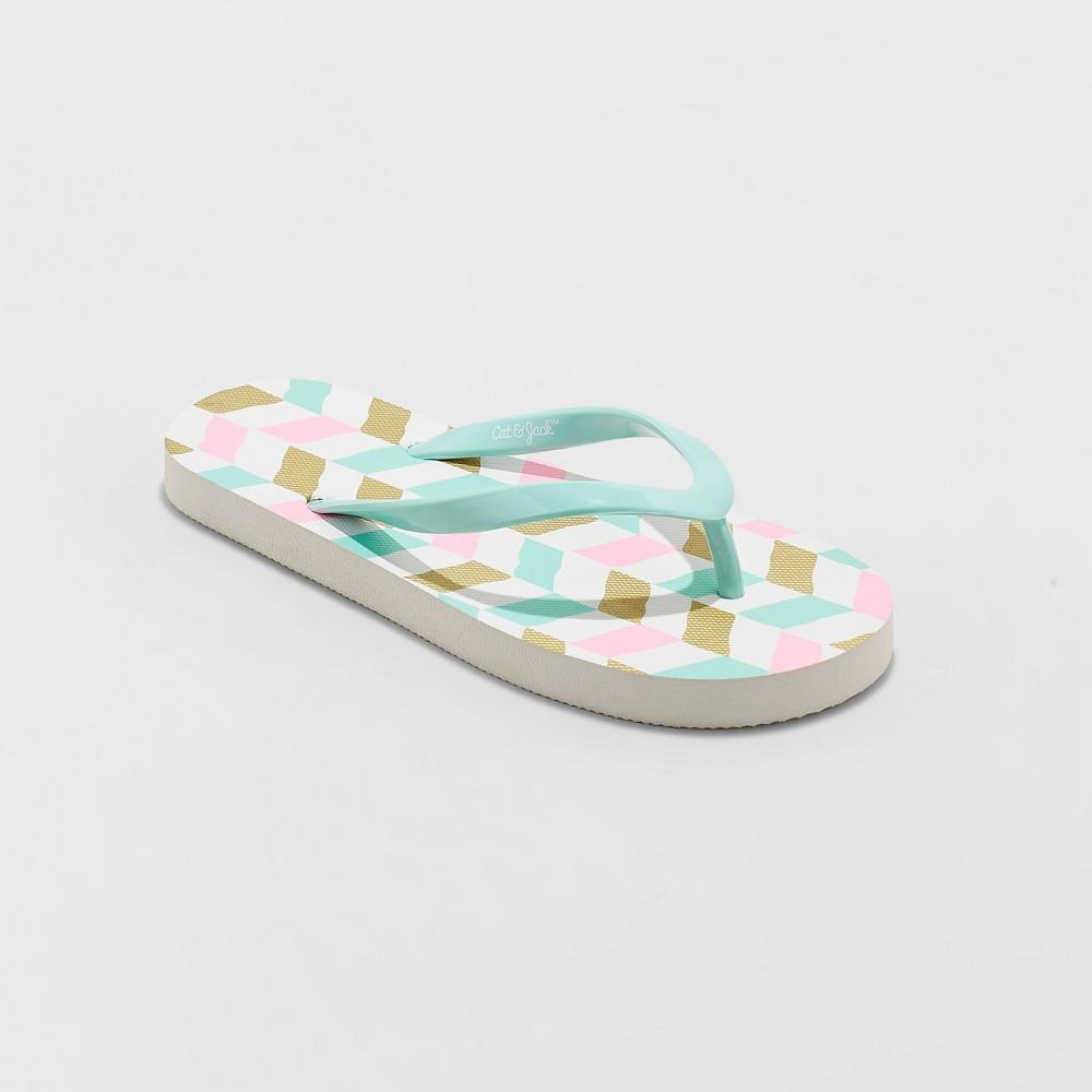 Girls' Mari Geometric Flip Flop Sandals - Cat & Jack Mint S, Blue