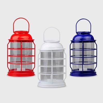 3ct Metal Lanterns Red/White/Blue - Bullseye's Playground™