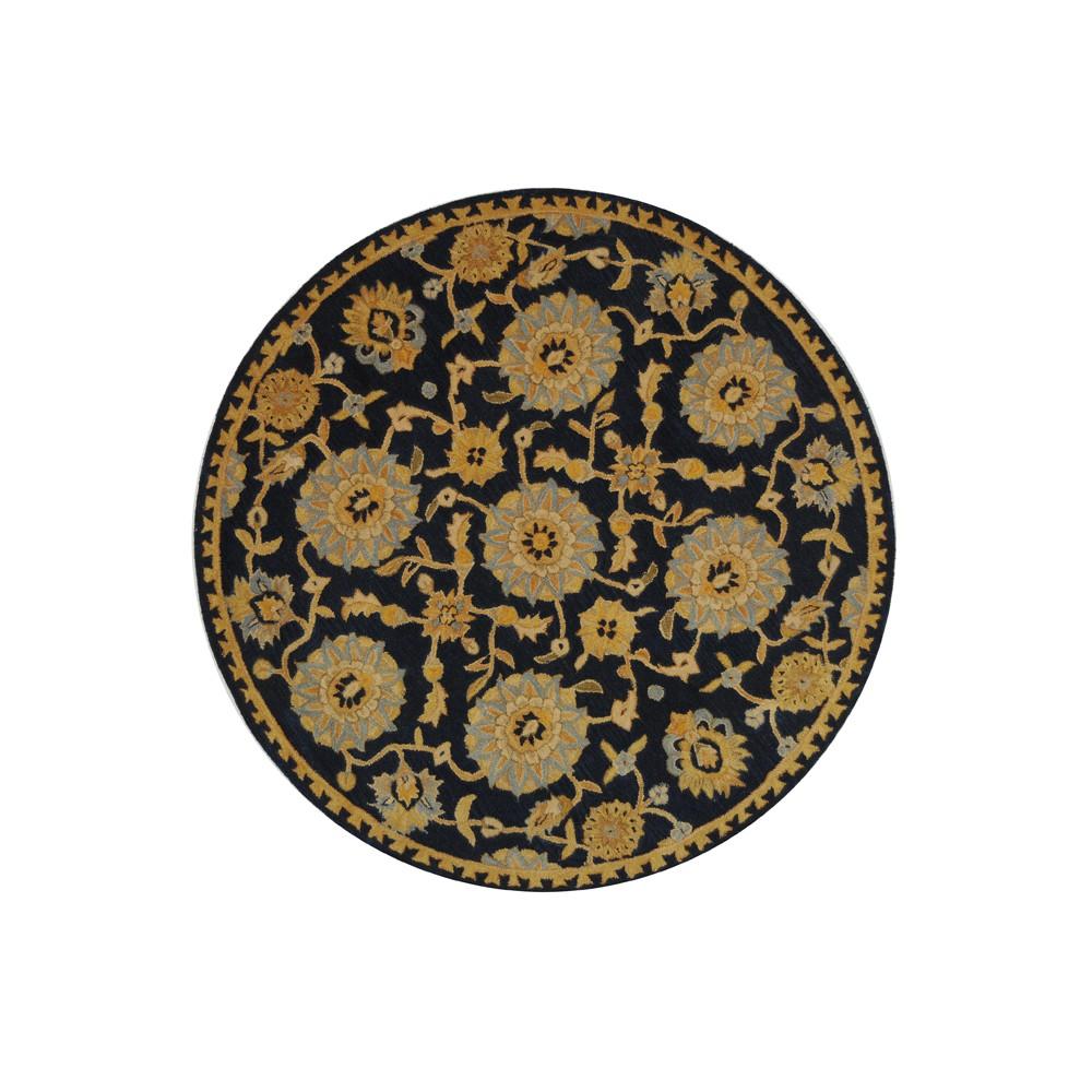 Navy (Blue) Floral Tufted Round Accent Rug 4' - Safavieh