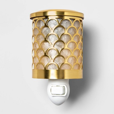 "5.2"" x 4.2"" Scallop Capiz and Glass Plug-In Scent Warmer Gold - Opalhouse™"
