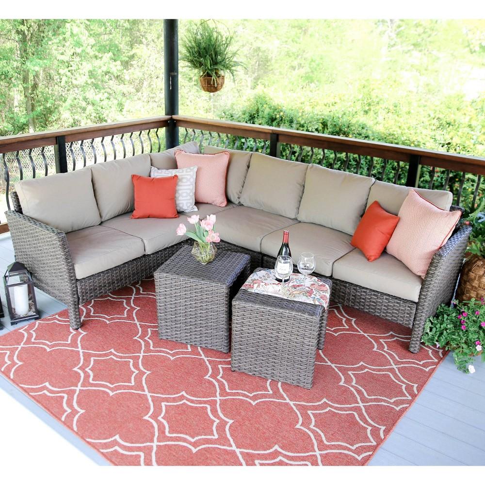 Canton 6pc Patio Seating Set with Sunbrella Fabric - Tan - Leisure Made