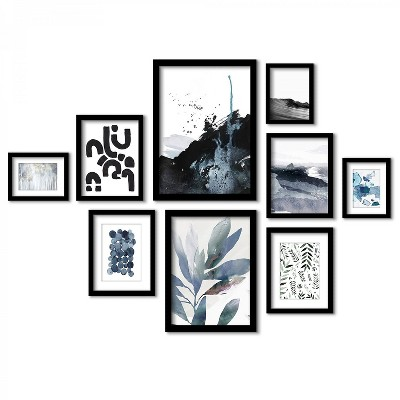 Americanflat Abstract Indigo Landscapes - 9 Piece Framed Gallery Wall Art Set