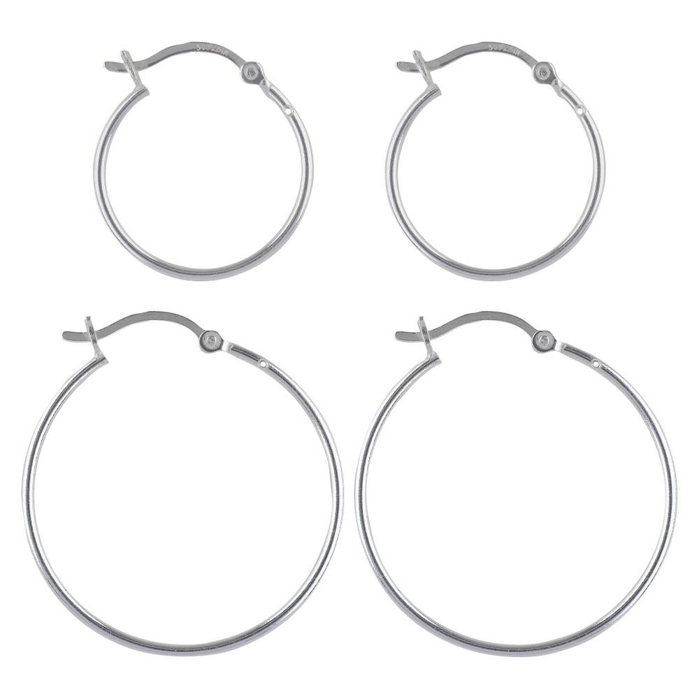 Image of Women's Sterling Silver Hoop Earrings Set of 2 Click Hoop - Silver, Size: Small