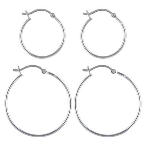 Women's Sterling Silver Hoop Earrings Set of 2 Click Hoop - Silver - image 1 of 1