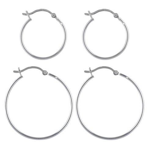 Women's Sterling Silver Click Hoop Earrings Set of 2 - Silver - image 1 of 1