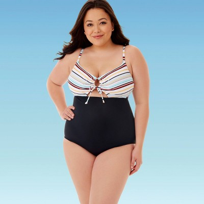 Women's Plus Size Slimming Control Drawstring Cut Out One Piece Swimsuit - Beach Betty By Miracle Brands Red 2X