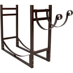 """Firewood Log Rack with Kindling Holder - 33"""" Bronze - Sunnydaze Decor"""