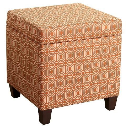 Sunshine Storage Cube Ottoman Orange Homepop Target