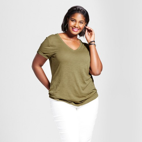 f753cb0c7c1 Women s Plus Size V-Neck T-Shirt - Ava   Viv™ Dried Oregano 3X   Target
