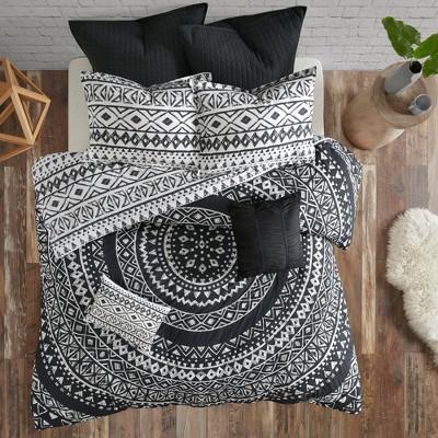 7pc Mica Cotton Reversible Duvet Cover Set (Full/Queen)Black