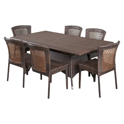 Rafael 7pc Wicker Patio Dining Set - Brown - Christopher Knight Home