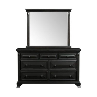 7 Drawer Trent Dresser with Mirror Set Antique Black - Picket House Furnishings