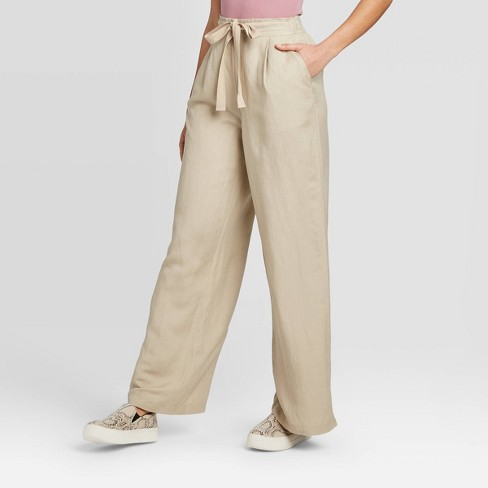 Women's Mid-Rise Wide Leg Pull-On Pants - A New Day™ Tan S - image 1 of 3
