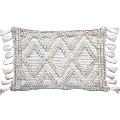 Woven Textured Diamond Lumbar Pillow Cream - Opalhouse™